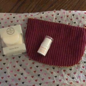 Makeup bag, marykay cheek stick, face brush
